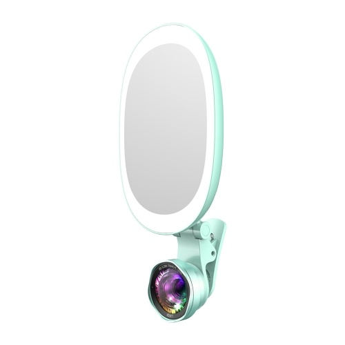 Andoer Rechargeable Selfie Ring Fill-in Light Lamp Portable Phone Camera Lens with Makeup Mirror Wide Angle Macro Lens 60pcs LED Beads Adjustable Brightness & Color Temperature Fill Light for iPhone X/Xs/8P Huawei Samsung Xiaomi Smartphones Tablets