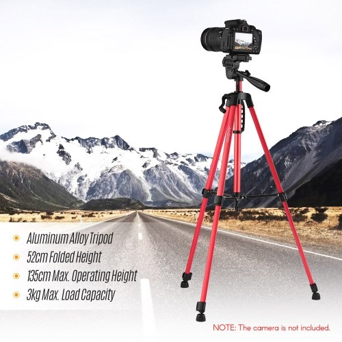 Andoer Lightweight Photography Tripod Stand Aluminum Alloy 3kg Load Capacity Max. Height 135cm/53in with Carry Bag Phone Holder for Canon Sony Nikon DSLR Camera for iPhone Samsung Xiaomi Huawei Smartphone