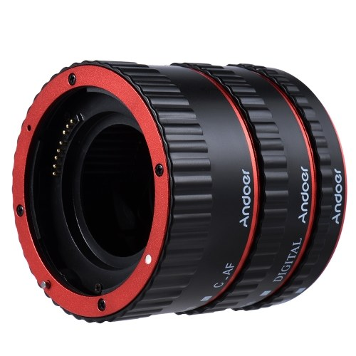 Andoer Colorful Metal TTL Auto Focus AF Macro Extension Tube Ring for Canon EOS EF EF-S 60D 7D 5D II 550D Red