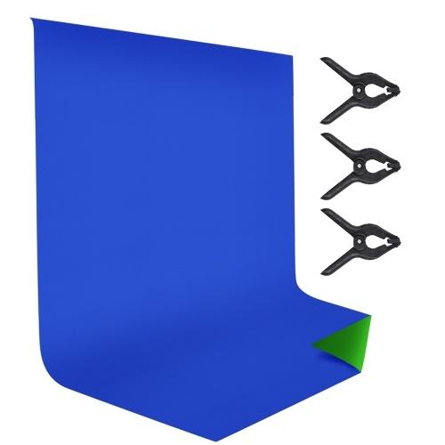 Andoer 1.8 * 2.8M / 6 * 9.2ft bicolore photographie toile de fond écran lavable en polyester-coton