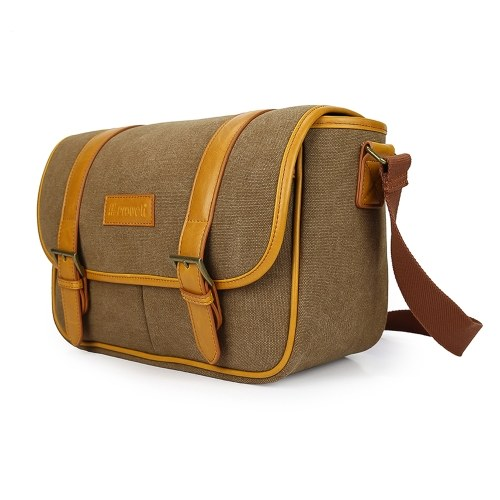 PROWELL Kameratasche Kameratasche Wasserdichte leichte Canvas-Umhängetasche mit abnehmbaren Einsätzen Verstellbarer Schultergurt
