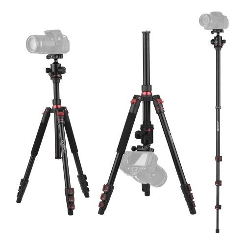 Andoer Aluminum Alloy Tripod Detachable Reversible Tripod Stand Load Capacity 10KG with Ball Head Storage Bag for Camera Camcorder Binocular Projector