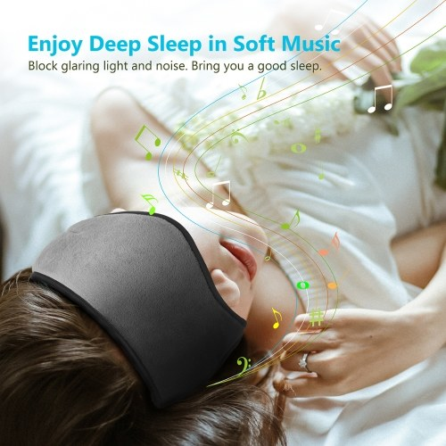 dodocool Wireless Multifunctional Sleeping Eye Mask with Stereo Sound Headphones Washable Music Eye Cover 4.2 Wireless Adjustable Headset with Built-in Speakers Microphone Handsfree for Travel and Sleep Chargeable Grey