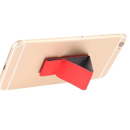 dodocool 2-in-1 Portable Universal Adhesive PU Leather Folding Phone Holder Desktop Stand Hand Finger Grip for iPhone Samsung LG HTC Smartphone Reusable Black DA48R