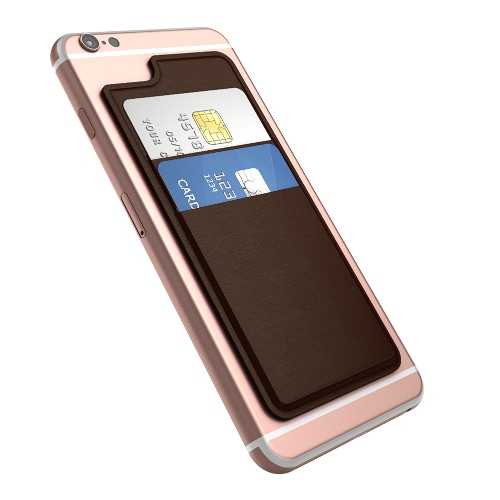 dodocool Ultra-sottile Holder 2 Slot autoadesiva carta di credito Stick-on del raccoglitore per il iPhone 6 / 6S Smartphone Marrone