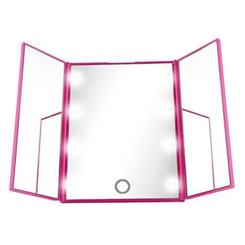 Tragbarer Kosmetikspiegel LED beleuchtet, einstellbare Helligkeit, faltbarer Dreifachspiegel mit Ständer und zwei CR2032-Batterien