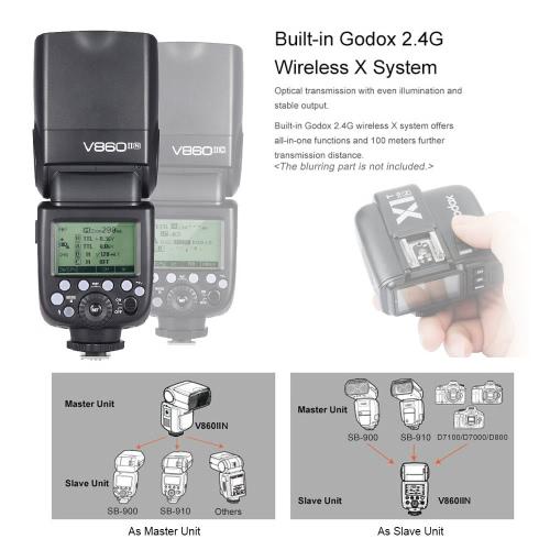 Godox V860II-N i-TTL 1/8000S HSS Master Slave GN60 Speedlite Flash Built-in 2.4G Wireless X System with 2000mAh Rechargeable Li-ion Battery for Nikon D800 D700 D7100 D7000 D5200 D5100 D5000 D300 D300S D3200 DSLR Camera