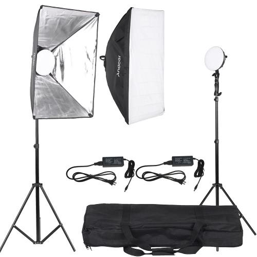 Zestaw Andoer LED Lighting Studio Fotografii Light 2 * 30W Lampa LED + 2 * 2 * * Softbox Światło Stojak + 1 * Torba