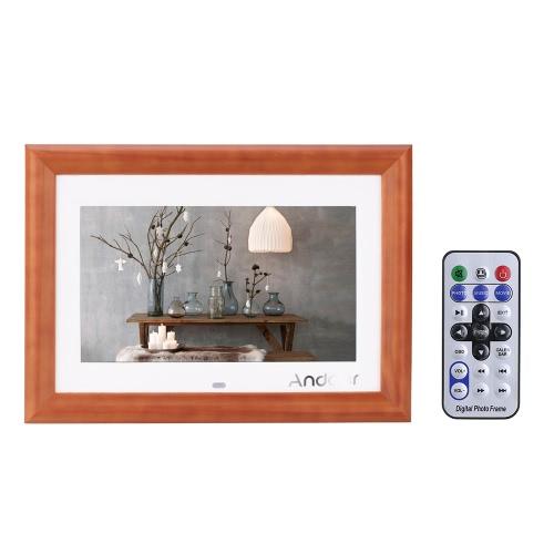"""Andoer 10 """"Desktop Drewno HD LCD Cyfrowa ramka do zdjęć Odtwarzacz MP3 Odtwarzacz Muzyczny Odtwarzacz Filmowy E-book Kalendarz Zegar z Pilotem Kontrolnym Christmas Gift"""