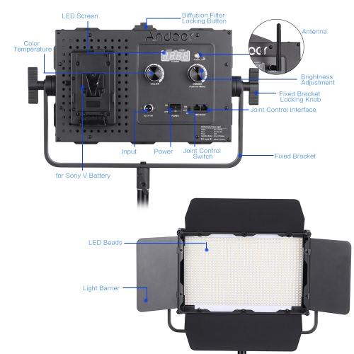Modos Coloridos HSI y RGB y 10 Efectos de Luz Especiales Ultra Ligero de 112g Focos LED Para Soporte de Luz o C/ámara DSLR Andoer Luz LED Fotogr/áfica Video 2800K-8500K Regulable TLCT 97//CRI 95