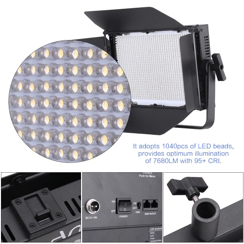Andoer 1040pcs LED Beads Photo Video Panel Light CRI 95+ 3840LM 3200K-5600K DMX512 Adjustable Brightness for Canon Nikon Sony Pentax Panasonic Olympus DSLR Camera Camcorder
