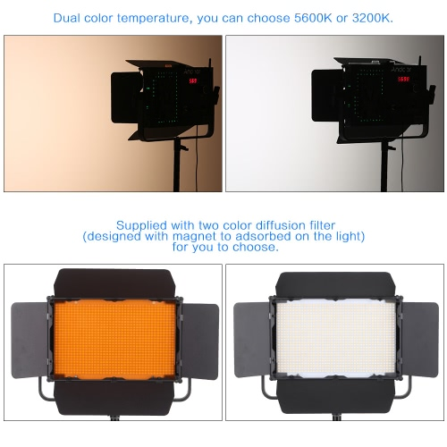 Andoer Adjustable Brightness 1040pcs LED Beads CRI 95+ 7680LM 5600K Video Studio Photography Light Lamp for Canon Nikon Sony Camera Camcorder