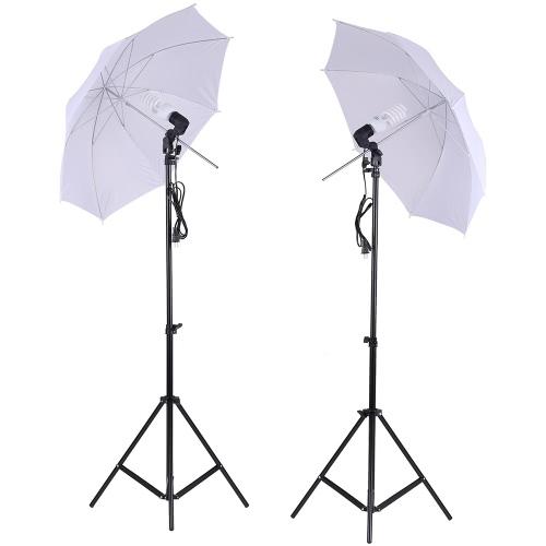 Photo Studio Lighting Kit Set 2Pcs 2 Mètres 6.6ft Lumière Kiosque + 2Pcs 33 pouces blanc Soft Light Umbrella + 2Pcs 45W Ampoule + 2Pcs Swivel lumière Socket