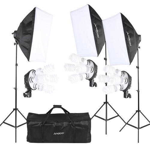 Andoer Photography Studio Portrait Product Light Lighting Tent Kit Photo Equipment (12 * 45W Bulb + 3 * 4in1 Bulb Socket + 3 * Softbox + 3 * Light Stand + 1 * Carrying Bag)