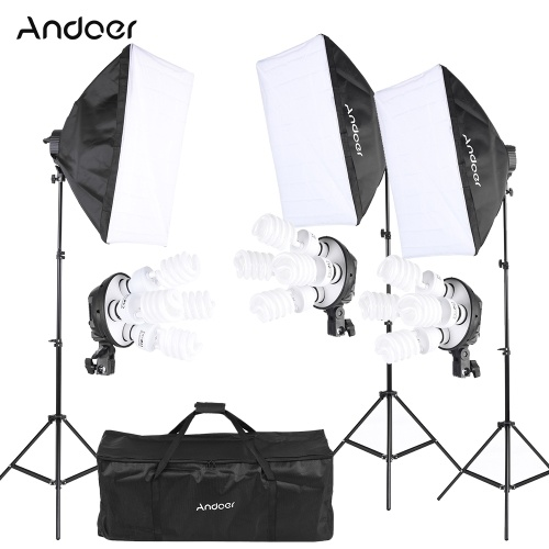 Andoer Photography Studio Portrait Product Light Lighting Tent Kit Photo Equipment (12 * 45W Bulb + 3 * 4in1 Bulb Socket + 3 * Softbox + 3 * Light Stand + 1 * Carrying Bag)