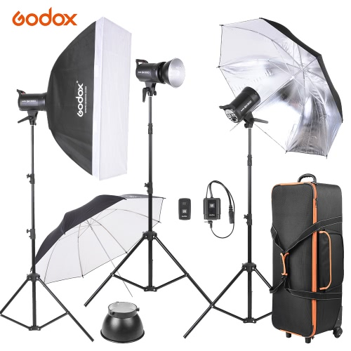 Godox SK300-D 3 * 300WS Studio Photo Strobe Flash Light Kit with 3 * Light Stand / 1 * Softbox / 1 * Reflector Umbrella / 1 * Soft Umbrella / 1 * Flash Trigger / 1 * Lamp Shade / 1 * Wheeled Carrying Bag