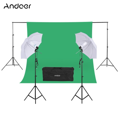 Andoer Fotografia Zestaw 2 * 3m Tło Stojak 1,8 * 2,7m Zielona Muślin tło 2Pcs 135W 5500K białe Daylight żarówek z 2 gniazdami obrotowe 2szt 33