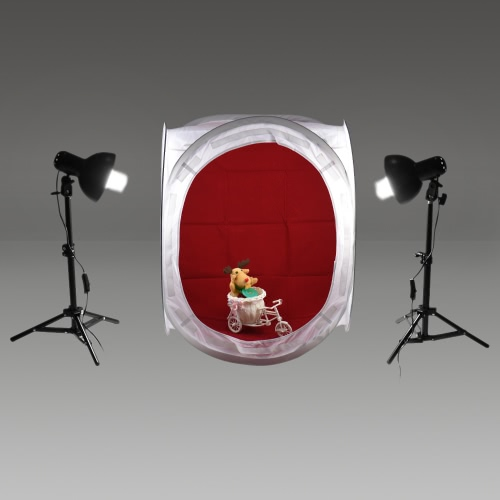 Andoer Photography Studio Cube Tent (24 x 24x 24inch) + 2pcs Lampshade with Lamp Holder + 2pcs 45W Light Bulb + 2pcs 50cm/ 20inch Heigh-adjustable Light Stand + 4pcs Non-woven Backdrop