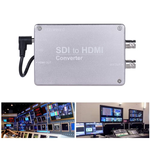 Feelworld SDI to HD Video Audio Converter Adapter SDI Input/Output HD Output 1080P Broadcast Support 3G/HD/SD-SDI Conversion
