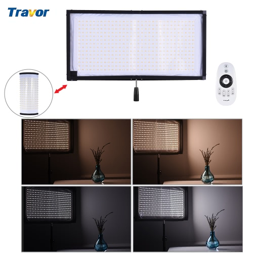 Travor FL-3060A luz LED dual Temperatura de color 3200K-5500K CRI90 + 85W Max.8000LM flexible de tela enrollable de mano de vídeo LED fotografía de la película de relleno en el panel de luz con control remoto