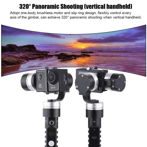 3-осевой карманный карданный безщеточный приводной гироскоп для GoPro Hero 4/3 + / 3 для камеры Xiaoyi с аналогичным размером, Гитарный эквалайзер с тремя осями Handyld Gimbal безжизненного действия Gyro Stabilizer для GoPro Hero 4/3 + / 3 для камеры Xiao