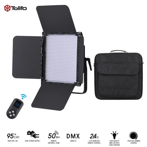 Tolifo GK-1024B PRO 30W 1024pcs CRI95+ LED Video Light Lamp Bi-color 3200 ~ 5600K Dimmable w/ 2.4G Remote Control/Barn Door/Filter DMX512 Connector for Studio Photography