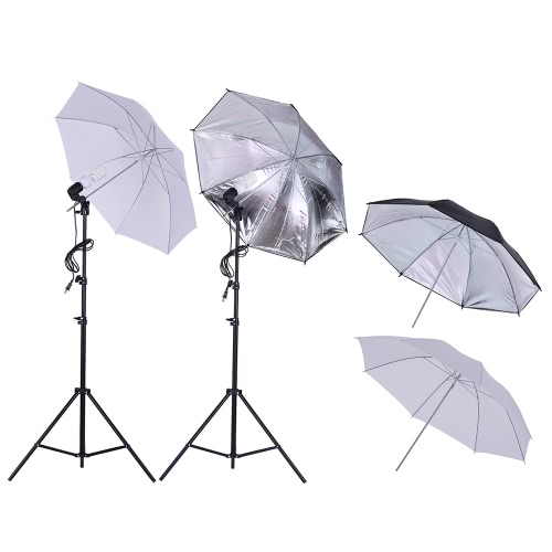 Andoer 1.6 * 3m / 5.2 * 9.8ft Backdrop Support System + Zestaw oświetleniowy Studio z 45 W 230V Żarówka + Złączka obrotowa + 2m / 6.6ft Podstawka + Umbrella + 2 * 3m / 6,6 * Podstawa na 9,8 stóp + Zacisk do produktów Rysunek Portret Fotografowanie w trybie wideo