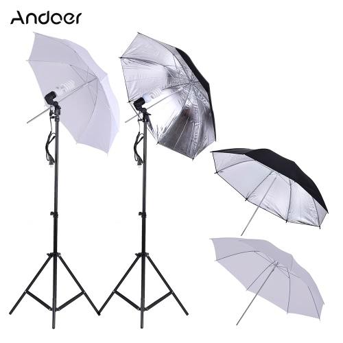 Studio fotograficzne Andoer Continuous Umbralle Zestaw oświetleniowy z 2 * 2m podstawy + 2 * 45W 5500K lampa fotograficzna + 2 * 83 cm półprzezroczysta biała miękka parasolka +2 * 83cm czarno-srebrna parasolka + 2 gniazda obrotowe