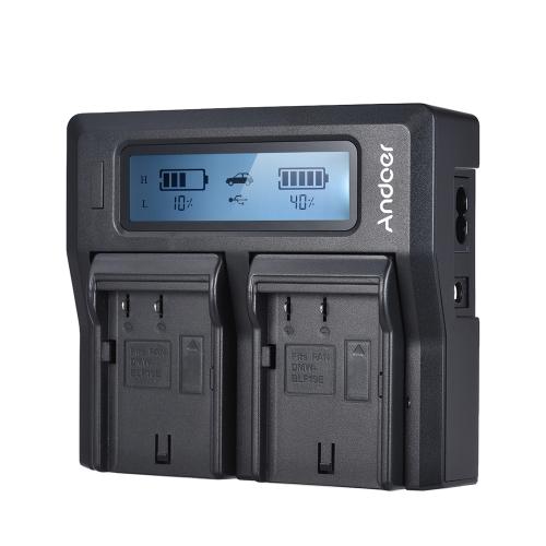 Andoer DMW-BLF19E Chargeur de batterie pour appareil photo LCD double canal