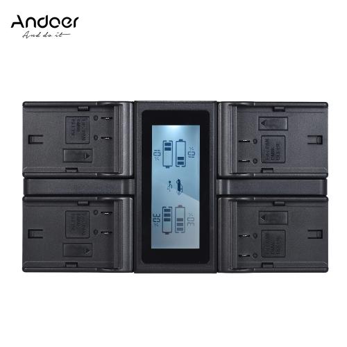 Andoer LP-E6 LP-E6N 4-kanałowa ładowarka sieciowa z wyświetlaczem LCD dla Canon EOS 5DII 5DIII 5DS 5DSR 6D 7DII 60D 80D 70D