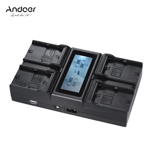 Andoer LP-E6 LP-E6N 4-Channel Carregador de Bateria Câmera Digital com Display LCD para Canon EOS 5DII 5DIII 5DS 5DSR 6D 7DII 60D 80D 70D