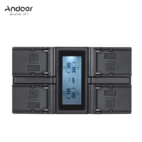 Andoer NP-F970 4-kanałowa ładowarka sieciowa z wyświetlaczem LCD dla Sony NP-F550 F750 NP-FM50 FM500H QM71