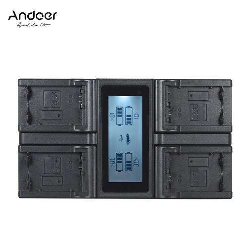 Andoer NP-FW50 NPFW50 4-kanałowa ładowarka do aparatów cyfrowych z wyświetlaczem LCD dla Sony α7 α7R α7sII α7II α6500 A6300 α7RII seria NEX