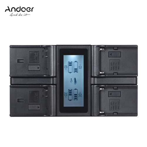 Andoer EN-EL15 NP-F970 Czterokanałowa ładowarka sieciowa z wyświetlaczem LCD dla Nikon D500 D610 D7100 D750 D800 D7200 dla Sony NP-F550 F750 F950 NP-FM50 FM500H