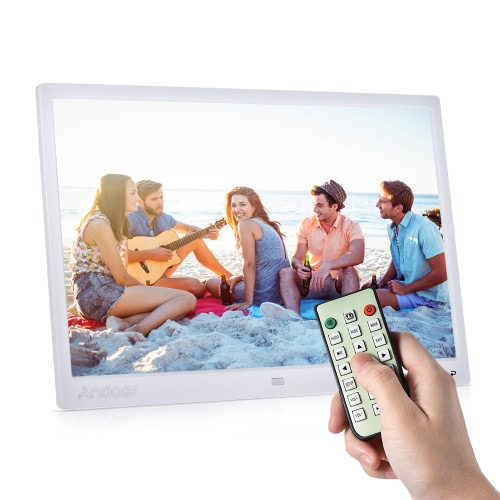 "Andoer 15"" TFT LED Digital Photo Frame Screen Desktop Album Display Image 1080P MP4 Video MP3 Audio TXT eBook Clock Calendar 1280 * 800 HD with Infrared Remote Control 7 Touch Key Support Auto Mixed Play 14 Languages with Detchable Stent"