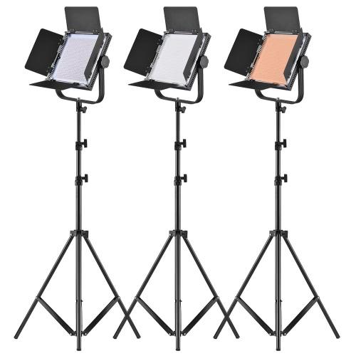"""LED-320A 3pcs LED Video Light Panel 25W Ściemnialne 340pcs Koraliki z 197cm / 78 """"Lekki Metal Stand / U-Bracket / Barn Drzwi / Filtr / Torba Do Canon Nikon Sony DSLR Kamera Kamery Oświetlenie Zdjęcia Studio"""