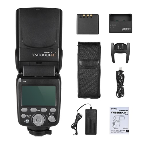 YONGNUO YN686EX-RT TTL Lithium Speedlite 2.4G Wireless 1/8000s HSS GN60 5600K Master Slave Flash Speedlite with 2000mAh Lithium Battery for Canon Camera