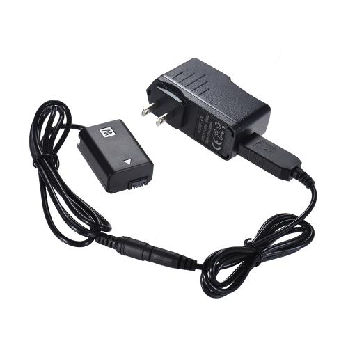 Andoer NP-FW50 Dummy Battery + 5V 3A Kabel zasilacza USB z wtyczką zasilającą Zamiennik dla AC-PW20 dla Sony Seria NEX-3/5/6/7 A33 A37 A35 A55 a7 a7R a7II A6000 A6300