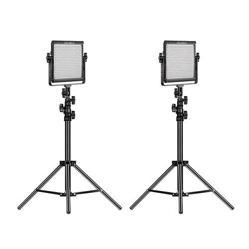 GVM LED-480LS 2pcs Dimmable Bi-color LED Video Panel Light and 70inch Stand Lighting Kit CRI97+ TLCI97 2300K-6800K Aluminum Alloy Housing with U-Bracket Interview Film-making Studio Photography