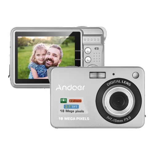Andoer 18M 720P HD цифровая видеокамера видеокамеры с 2шт аккумуляторная батарея 8X цифровое увеличение Anti-shake 2.7inch LCD Kids Christmas Gift фото