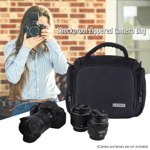 CADEN Padded Camera Bag Zippered Design Shockproof Black for Nikon Canon Sony DSLR Cameras Lenses Small Size