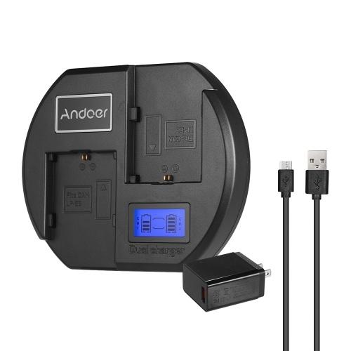 Andoer Fast Charger Chargeur de batterie pour appareil photo à double canal