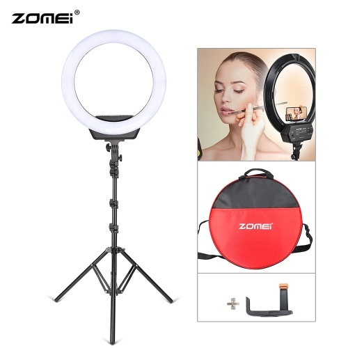 ZOMEI 16 pulgadas LED Selfie anillo de luz lámpara de la cámara 38W 320pcs bombillas Stepless brillo regulable 3200-5600K con soporte de trípode kit de soporte para teléfono móvil