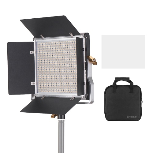 Andoer Professional LED Video Light Dimmable 660 LED Bulbs Bi-Color Light Panel 3200-5600K CRI 85+ with U Bracket & Barndoor Lighting Kit for Studio Photography Video Shooting