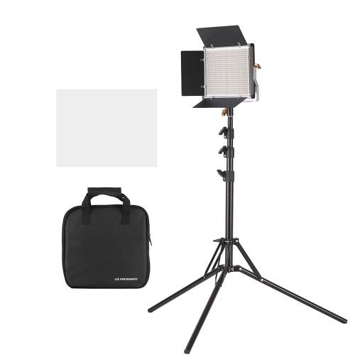 Andoer LED Video Light and 78.7 Inches Stand Kit Dimmable 660 LED Bulbs Bi-Color Light Panel 3200-5600K CRI 85+ with U Bracket & Barndoor for Studio Photography Video Outdoor Shooting