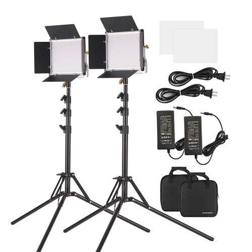 Andoer 2 Packs LED Video Light and 78.7 Inches Stand Lighting Kit