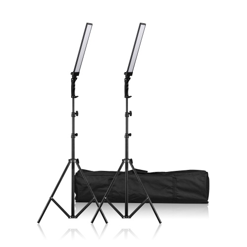 Andoer  60cm/23.6in Handheld LED Lighting Kit 90Pcs 24W Beads Dimmable Photography LED Video Light Fill-in Light Bar Handheld 5500K CRI 85 with Adjustable Light Stand for Video Portraits Still Life Wedding Advertisement Photography(2 Sets / Pack)