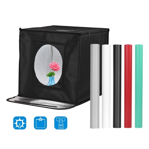 Andoer Portable Foldable Photo Studio Shooting Tent kit Photo Box 16*16*16 Inch Adjustable Brightness Professional Table Top Photography Light Box with 84pcs LED Lights 5500K 3 Color Backdrops (White Black Grey Red Green)