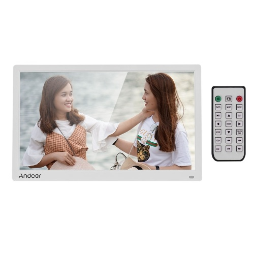 Andoer 17.3 Inch Desktop Digital Photo Picture Frame Album 1600*900 Resolution 16:9 TN LED Display Screen Support Calendar Clock Time Setting MP3 Music Movie with IR Remote Control Stand Bracket Support SD Card As Gift Present for Family Friends