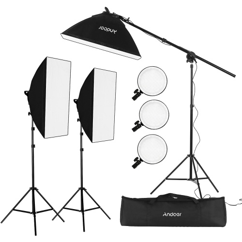 Andoer Studio Photography Softbox LED Light Kit Including 20*28 Inches Softboxes 45W Bi-color Temperature 2700K/5500K Dimmable LED Lights 2 Meters Light Stands Carry Bag, 3 Packs
